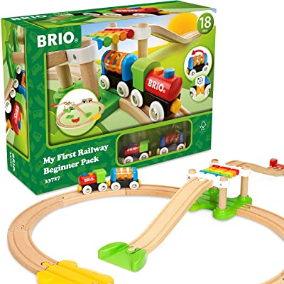 Brio My First Railway – 33727 Beginner Pack | Wooden Toy Train Set for Kids Age 18 Months and Up: Toys & Games