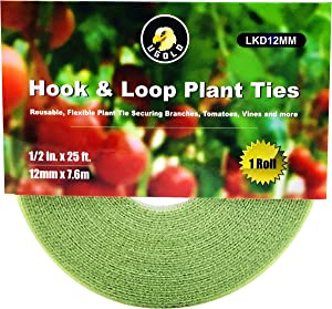 Ugold Hook and Loop Garden Tie, Reusable Nylon Plant Tie Strap, Tomato Tie, Grape Tie (0.48 in x 25 ft x 1 roll)