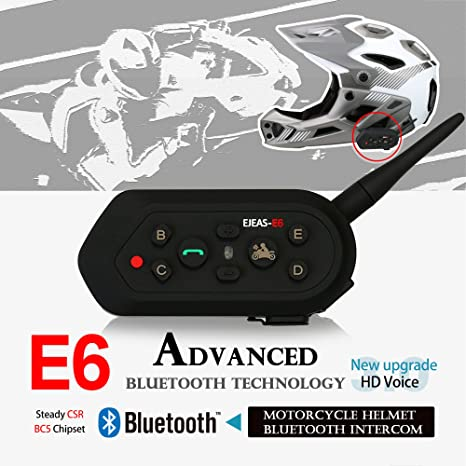 1×Auriculares Intercomunicador Bluetooth para casco de motocicleta Moto Intercom Headset 1.3KM, (