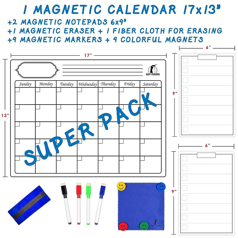 Set de calendario y pizarra blanca - Calendario en pizarra blanca magnético 43 x 33 cm + 2 Libretas borrables en seco 15 x 23 cm + 1 Borrador en seco, 1 Mopa borrador, 4 Marcadores borrables en seco, 4 Imanes - Agenda/planning para el frigorífico Navy Pen