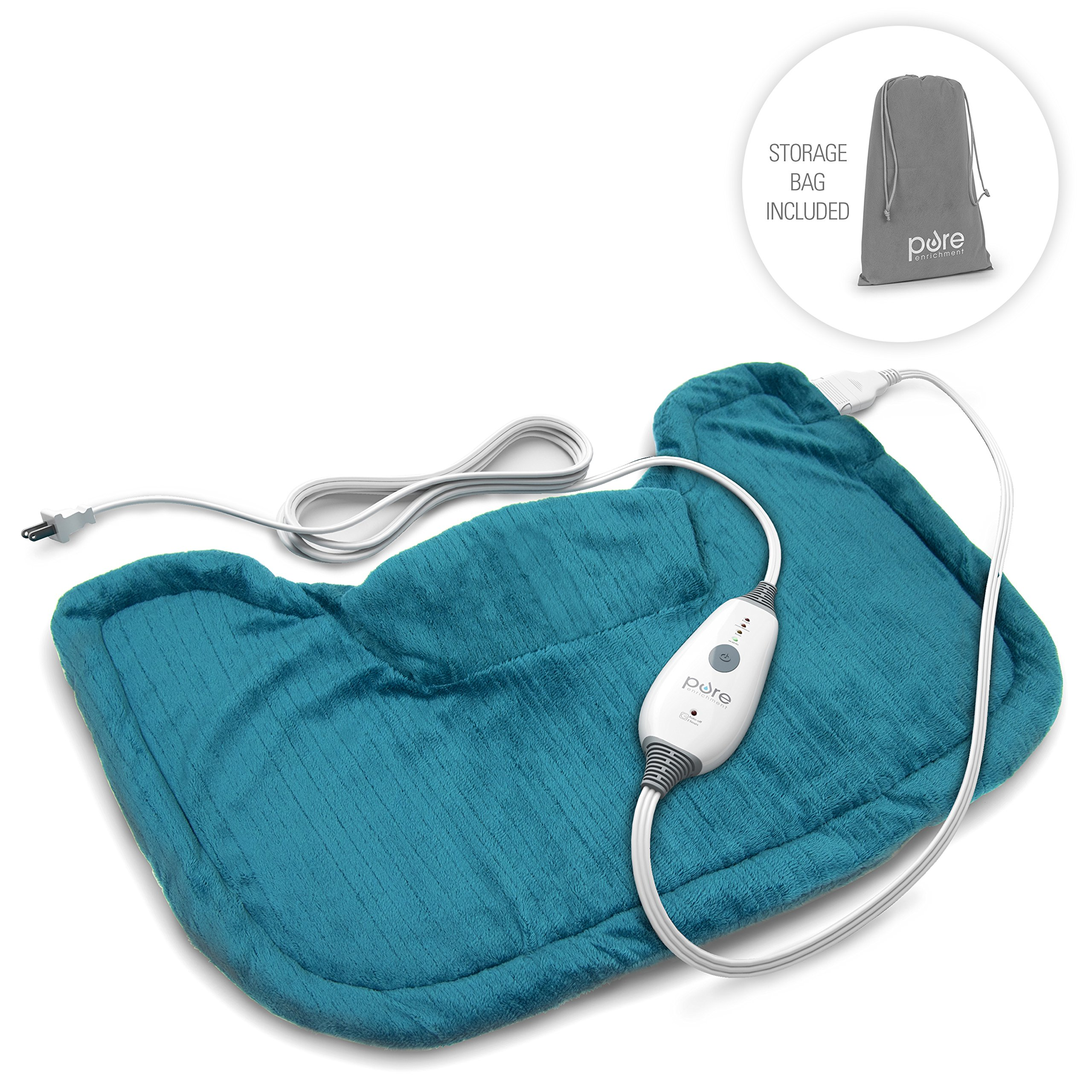 PureRelief Neck & Shoulder Heating Pad with Fast-Heating Technology, Magnetic Closure & Convenient Storage Bag - Turquoise Blue