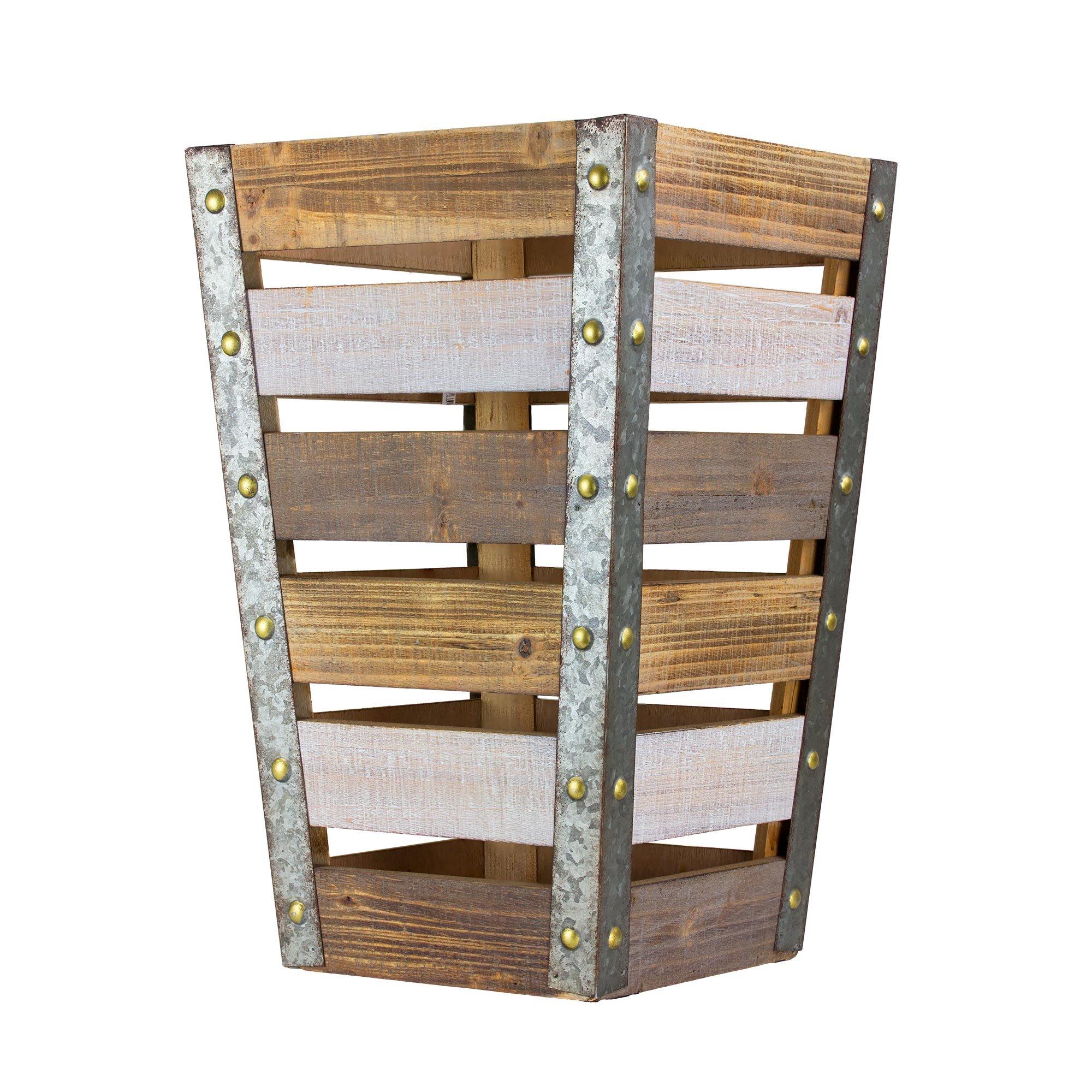 American Art Decor Rustic Tapered Wooden Storage Crate Vintage Farmhouse Decor - Medium