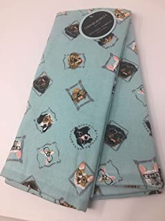 Cyntina Rowley Blue Dogs In Glasses Set Of 2 Kitchen Towels   Terry Cloth  Backed