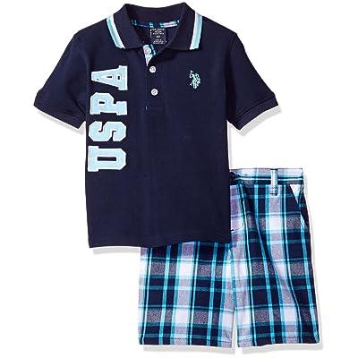 U.S. Polo Assn. Little Boys' Embellished Pique Polo Shirt and Plaid Short