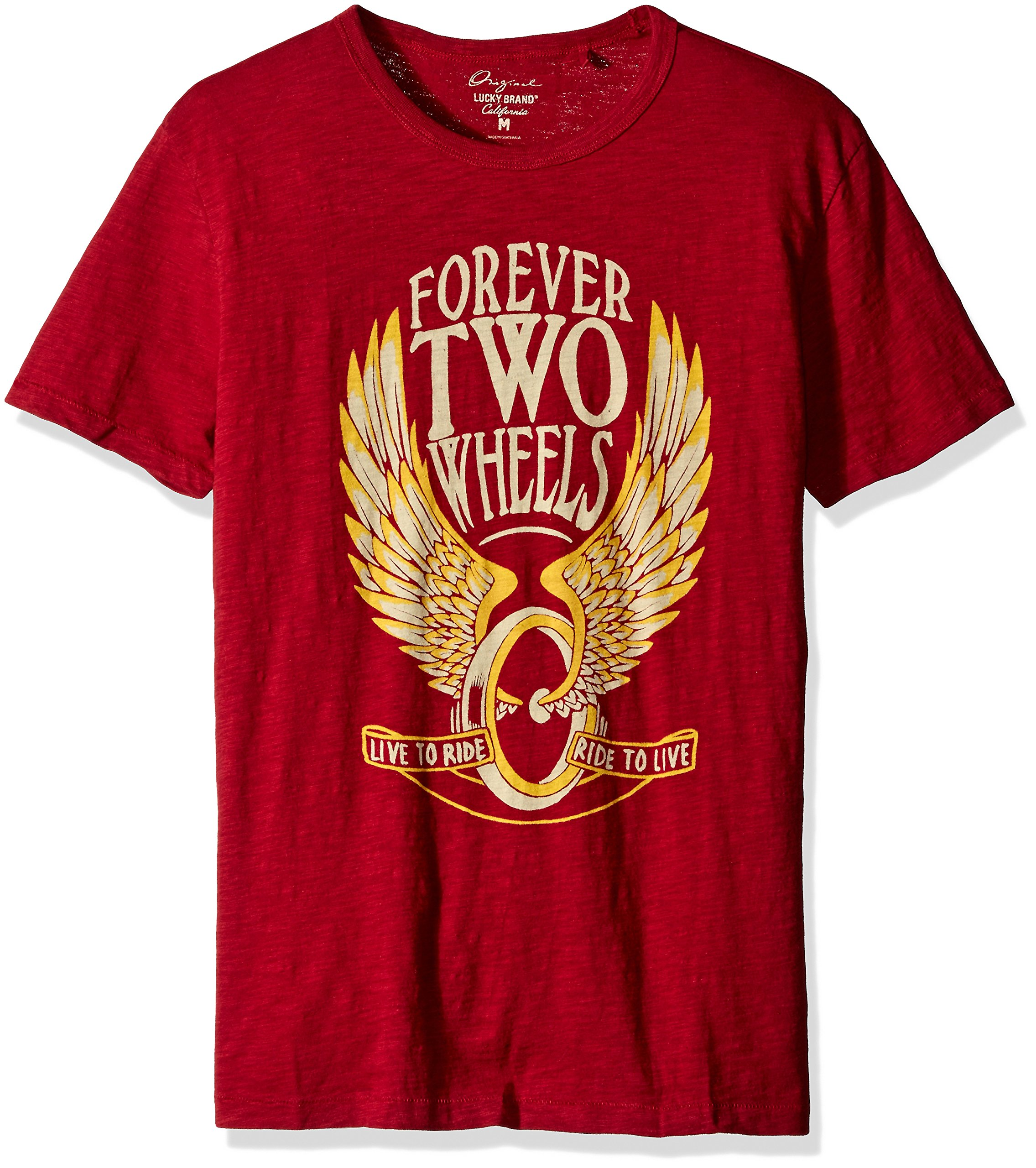 Lucky Brand Men's Forever Two Wheels Graphic Tee, Biking Red, Medium