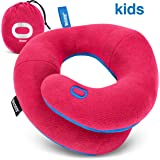 BCOZZY Kids- Travel Pillow- Supports Child's Head, Neck & Chin While Sleeping in Booster Carseat. Best Toddler Accessory & Activity for Traveling on Airplane and Road Trips. Magenta