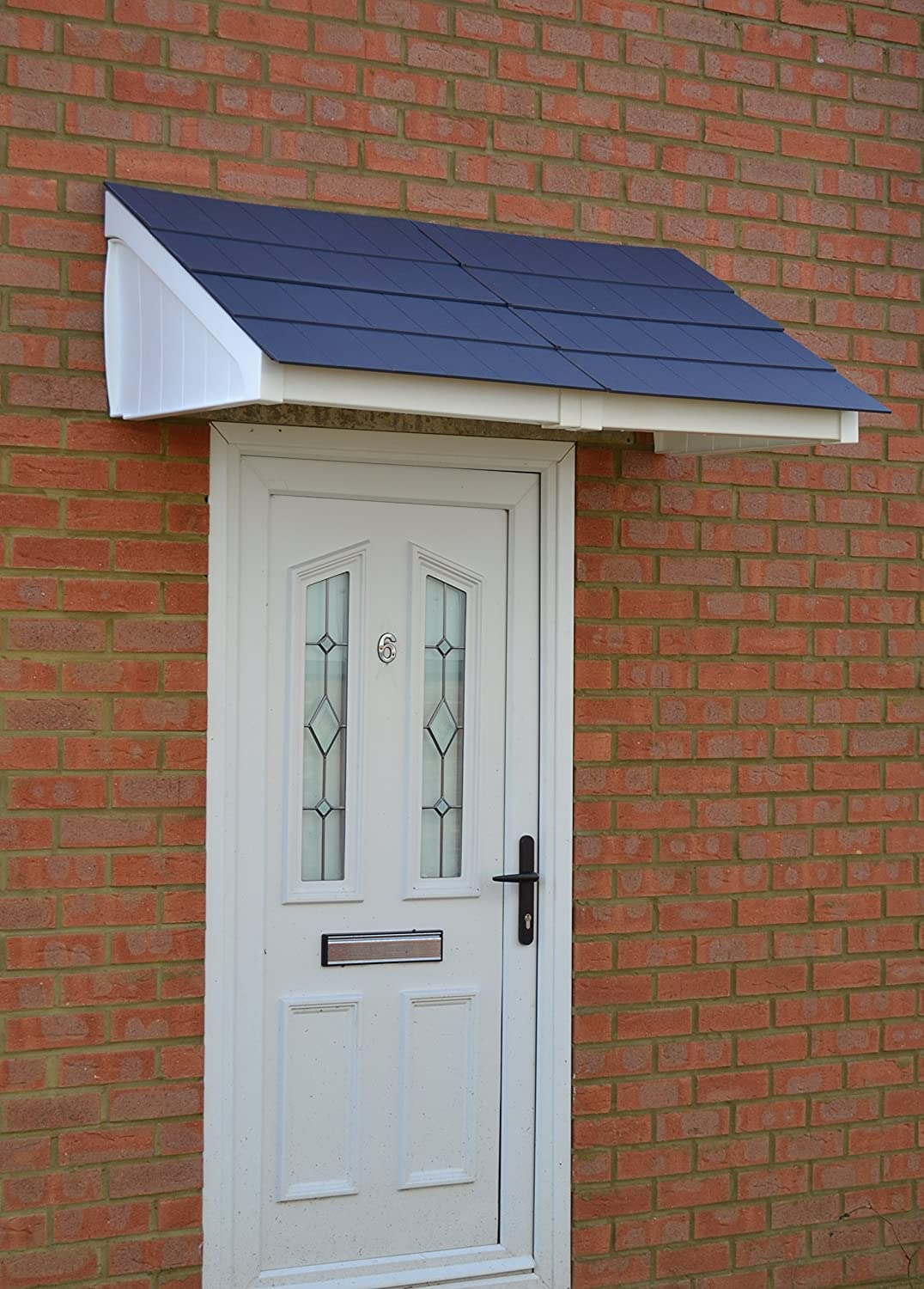 Mayfair Door Canopy and Storm Porch (White Frame Grey Tiles) Kovertek Limited
