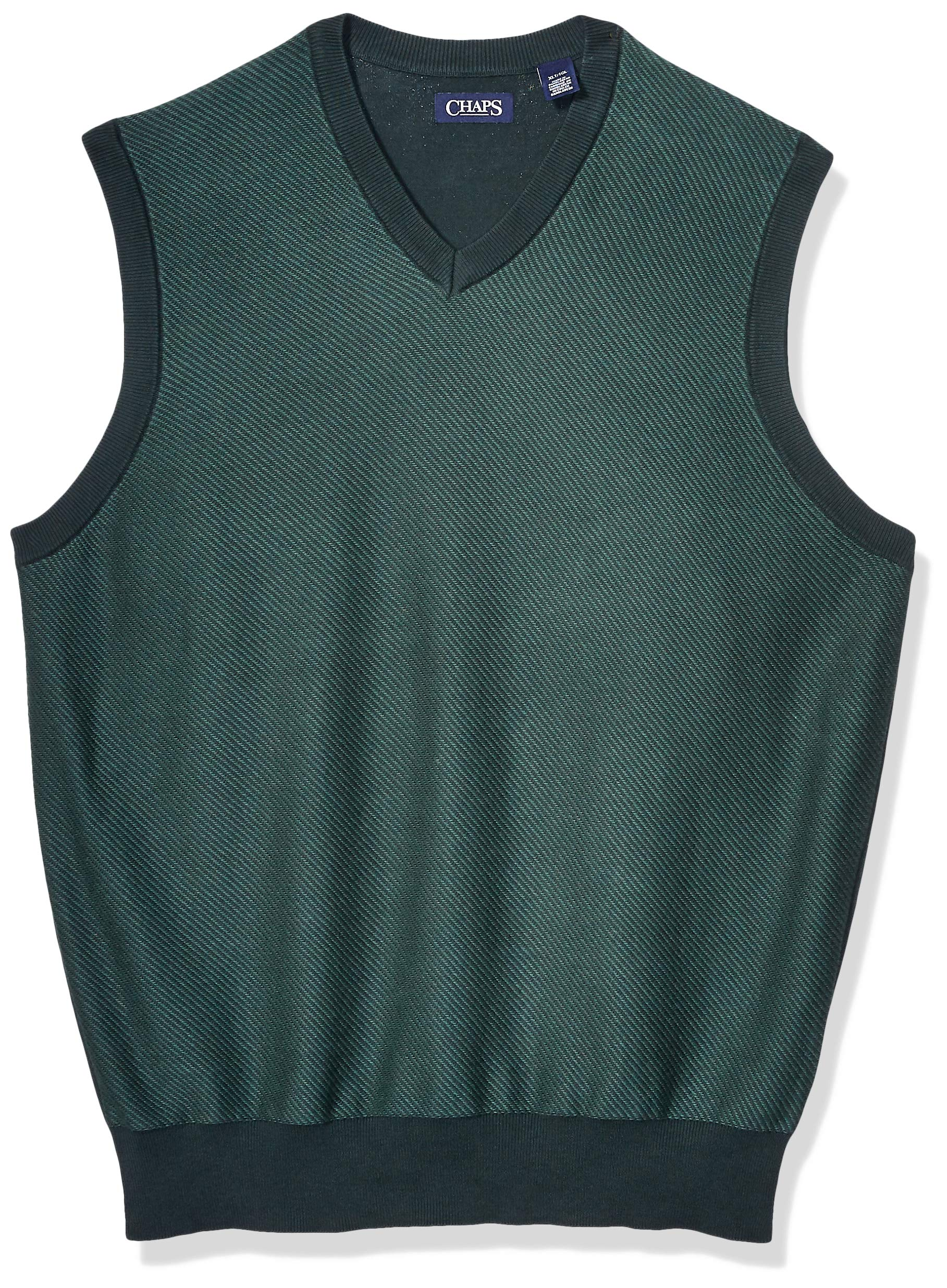 Chaps Men's Big and Tall Cotton V-Neck Sweater Vest, Hunt Club Green Multi, 3XLT by Chaps
