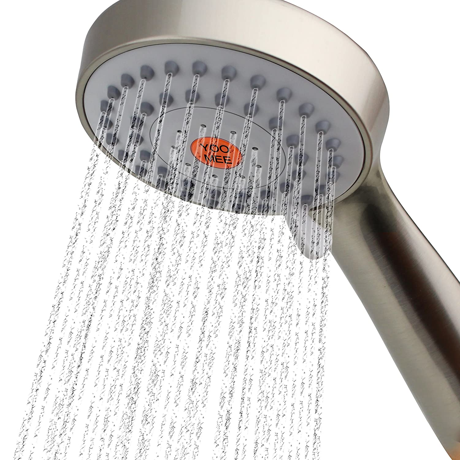 YOO.MEE High Pressure Handheld Shower Head with Powerful Shower Spray against Low Pressure Water Supply Pipeline, Multi-functions, Bathroom Accessories w/Hose, Bracket, and Teflon Tape- Chrome SYNCHKG072018