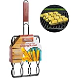 """Camerons Products Corn Grilling Basket - Non-Stick Corn Griller with 9"""" Rosewood Handle - Cooks 4 Ears of Corn"""