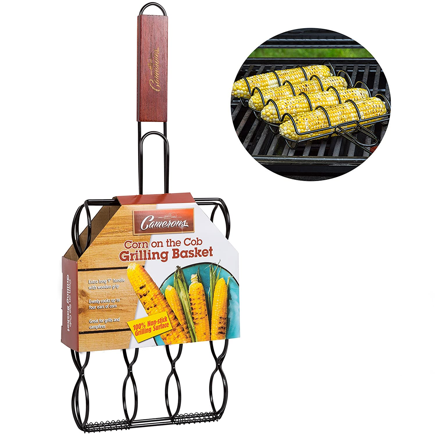 Corn Grilling Basket- 100% Non-Stick Corn Griller with Extra Long 9 Rosewood Handle- Evenly Cooks 4 Ears of Corn on The Cob! Camerons Products CAM-CGB-898
