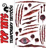 HALLOWEEN ZOMBIE SCARS (A) WOUNDS SCRATCHES TATTOOS FAKE MAKE UP SLASH FX FANCY DRESS COSTUME OUTFIT