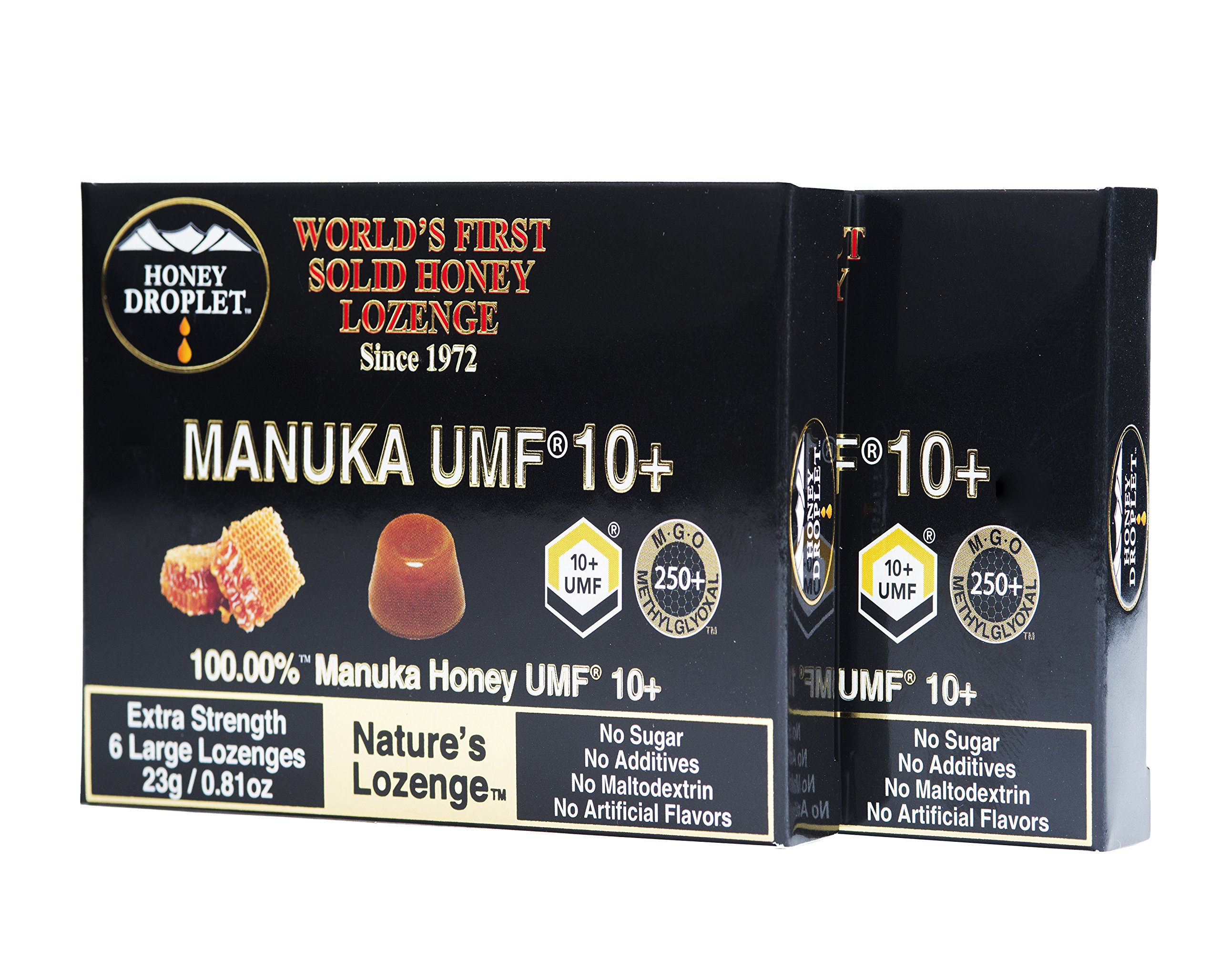 Honey Droplet Pure 100% Manuka honey lozenge in Twin Pack value UMF 10+ organic cough drops from New Zealand in a solid form with no added sugar no maltodextrin, a natural super-food antioxidant
