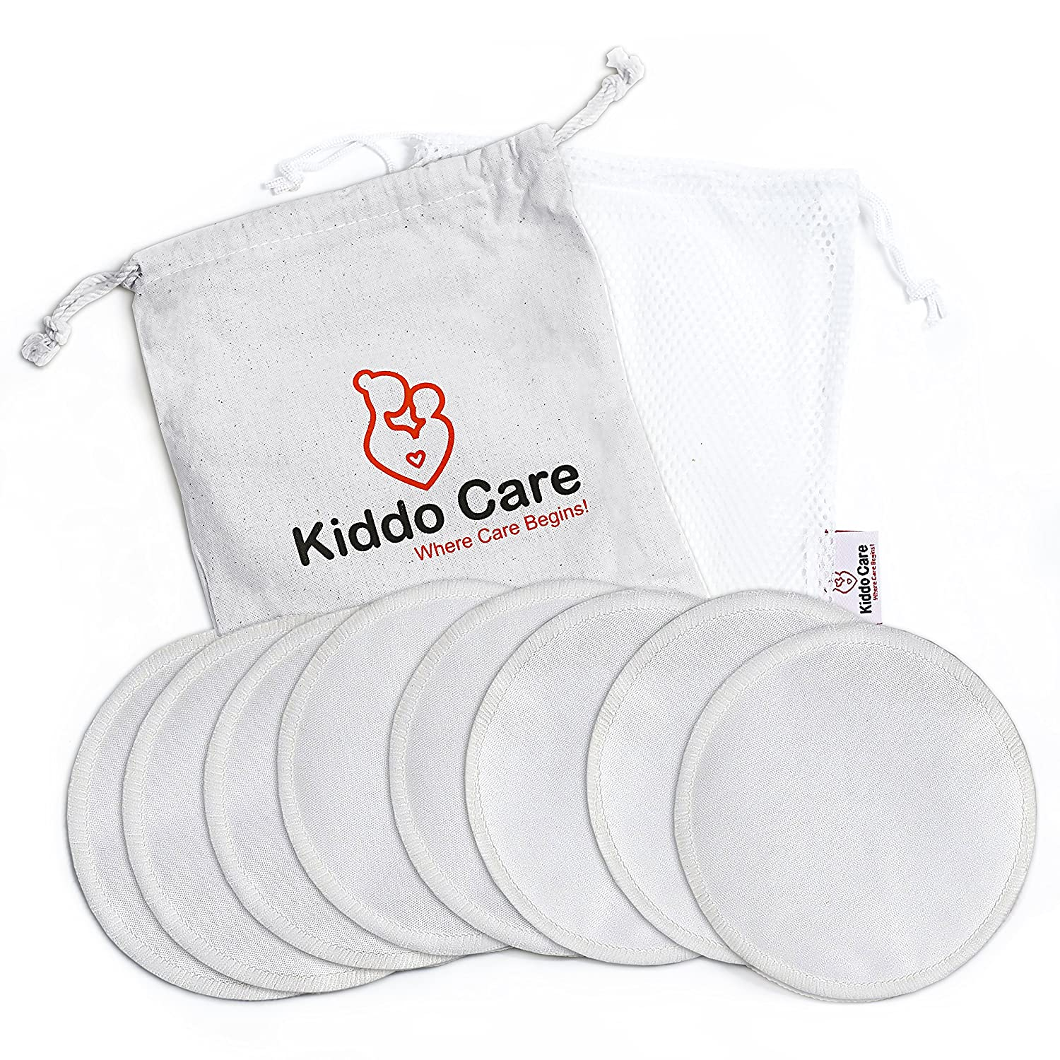 Kiddo Care Washable Organic Bamboo Nursing Pads -8 PACK (4 pairs) White- Reusable Breast Pads,Bra pads, Leakproof, Ultra soft, Waterproof, Hypoallergenic breastfeeding pads, absorbent pads, + 2 FREE Ebooks !!