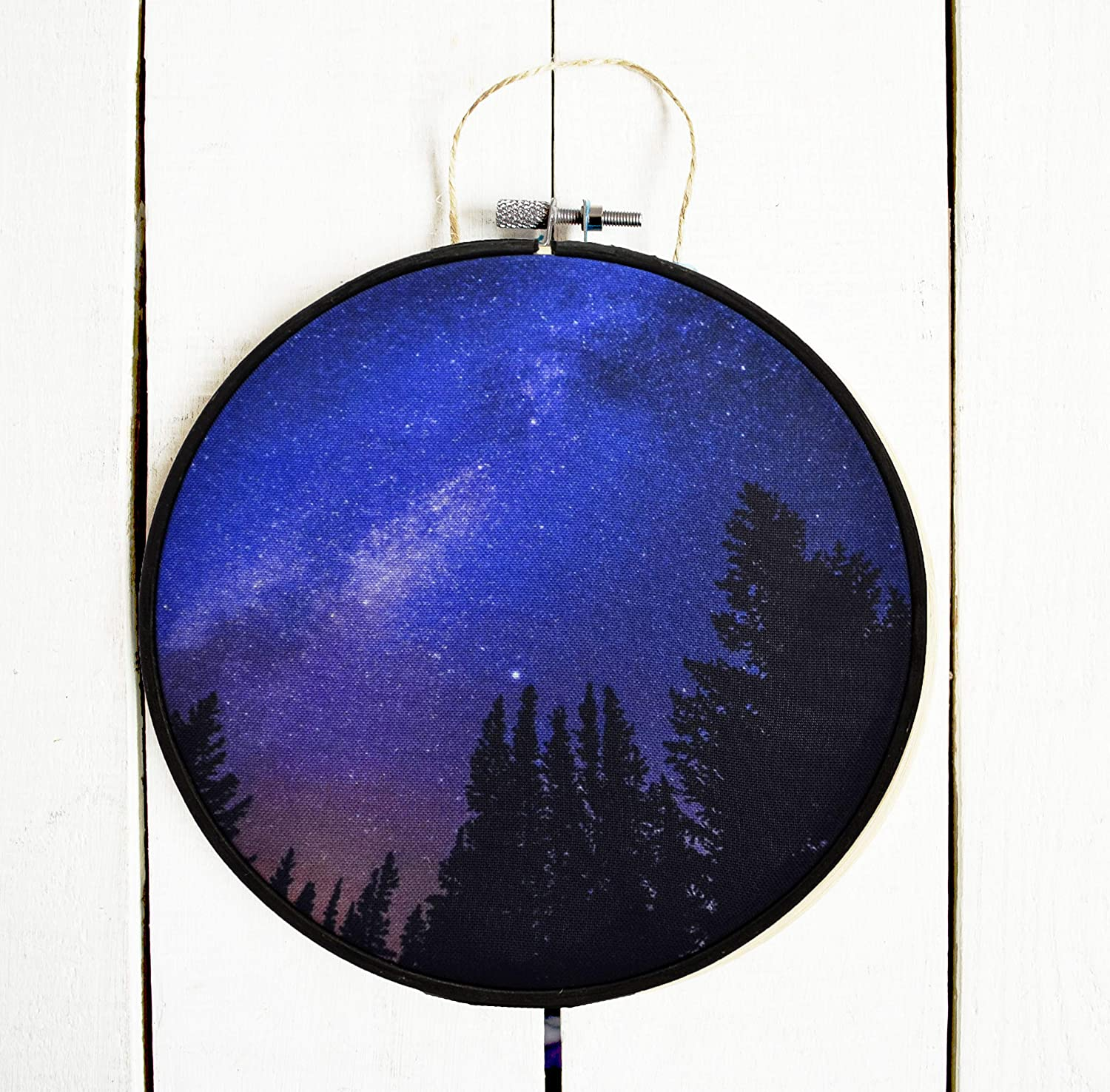 Amazon.com: Galaxy night forest Hoop art Outer space Nursery ...