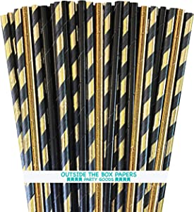 Black and Gold Foil Paper Drinking Straws - Stripe and Solid - 7.75 Inches - 100 Pack - Outside the Box Papers Brand