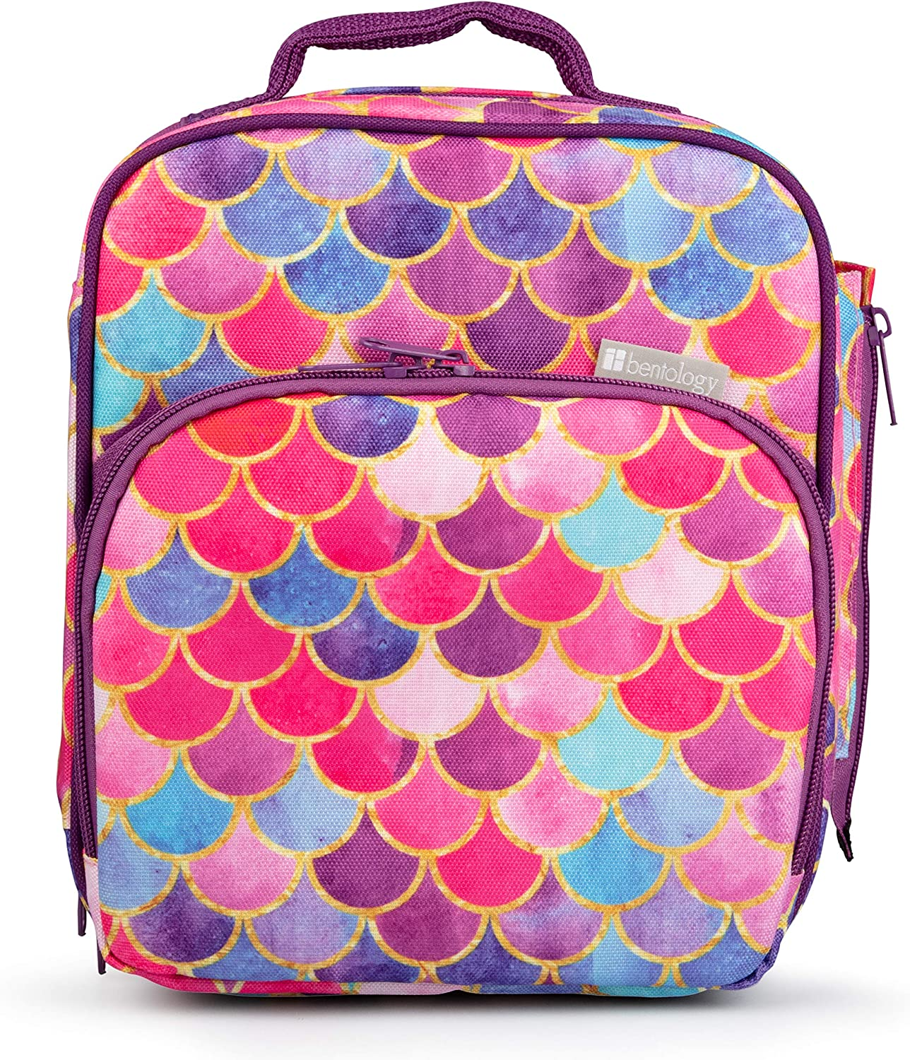 Bentology Lunch Box for Kids - Girls and Boys Insulated Lunchbox Bag Tote - Fits Bento Boxes - Mermaid Tail