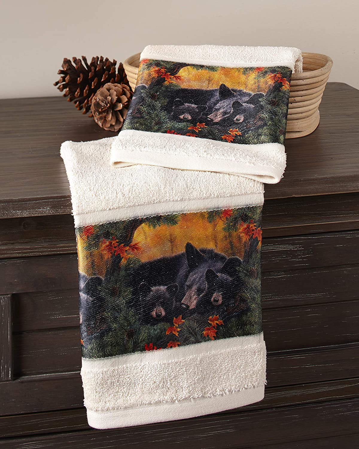 The Lakeside Collection Bear Family Hand Towels for Bathrooms, Kitchens with Nature-Themed Print