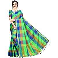 Tarshika women's Cotton Silk style saree with blouse piece (Multi-Color_Free_Size) TK-IKKAT CHECKS