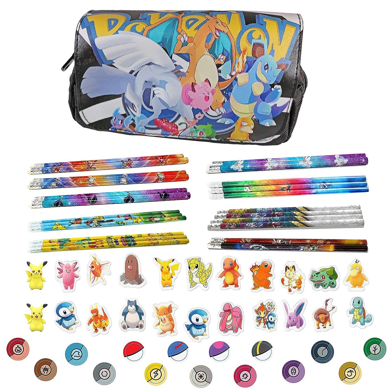 Baken Pokemon Pencil Case Go Charizard Lapras Lugia with 3 Pokemon Pencils and Erasers - Black