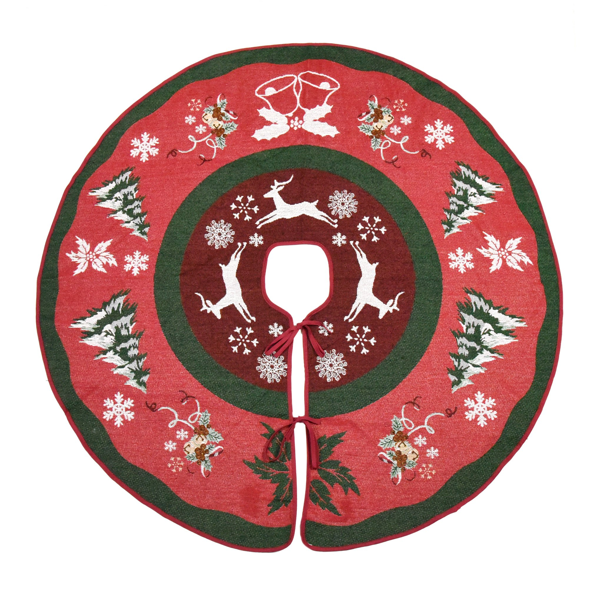 "Primode Tree Skirt, Woven Jacquard 50"" Xmas Holiday Tree Ornaments Decoration"