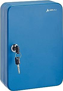 AdirOffice Key Steel Security Cabinet Box - 48 Keys Slots - Blue