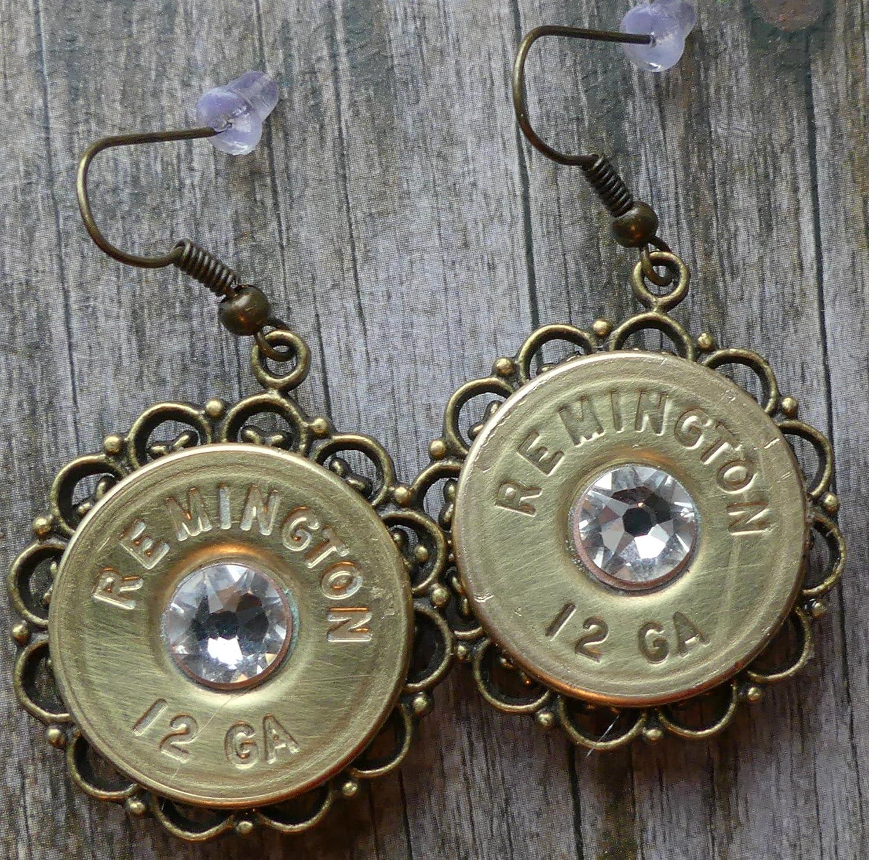 Remington Brass Shotgun Shell Earrings with Swarovski Clear Crystal