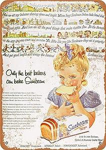 "3 Pcs 12"" x 16"" Metal Sign - 1954 Sunbeam Bread - Vintage Look"