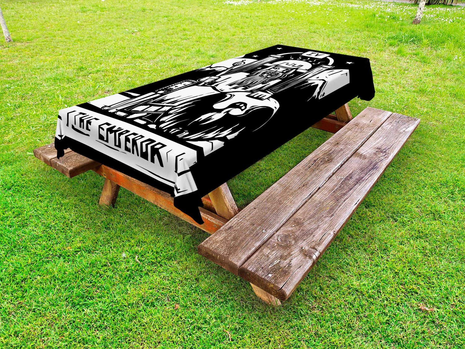 Ambesonne Tarot Outdoor Tablecloth, Tarot Card for The Emperor Woodcut Style Illustration Monochromatic Artwork, Decorative Washable Picnic Table Cloth, 58 X 120 Inches, Black and White