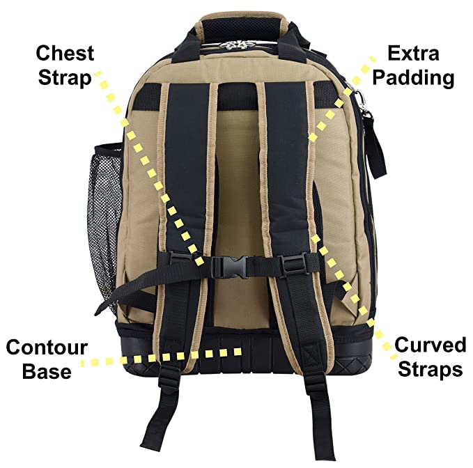 Jackson Palmer Tool Backpack, Contractors Edition, Comfort-Design with Optimized Pockets (Carpenters Tool Bag with Rubber Base) - - Amazon.com