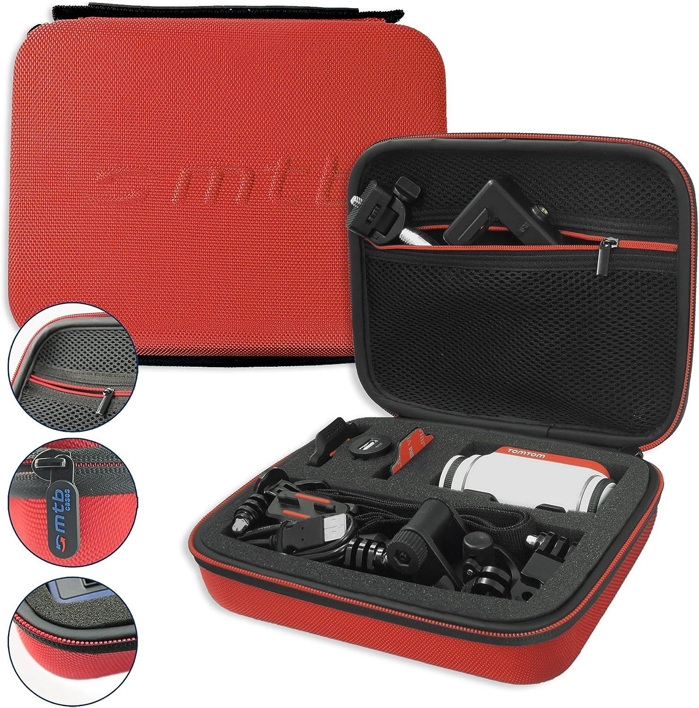 mtb more energy® Estuche (XL, Rojo) para Garmin Virb Elite, X, XE/Contour Roam 3 / Ghost-S/Tomtom Bandit. - Bolsa Funda Sistema Modular