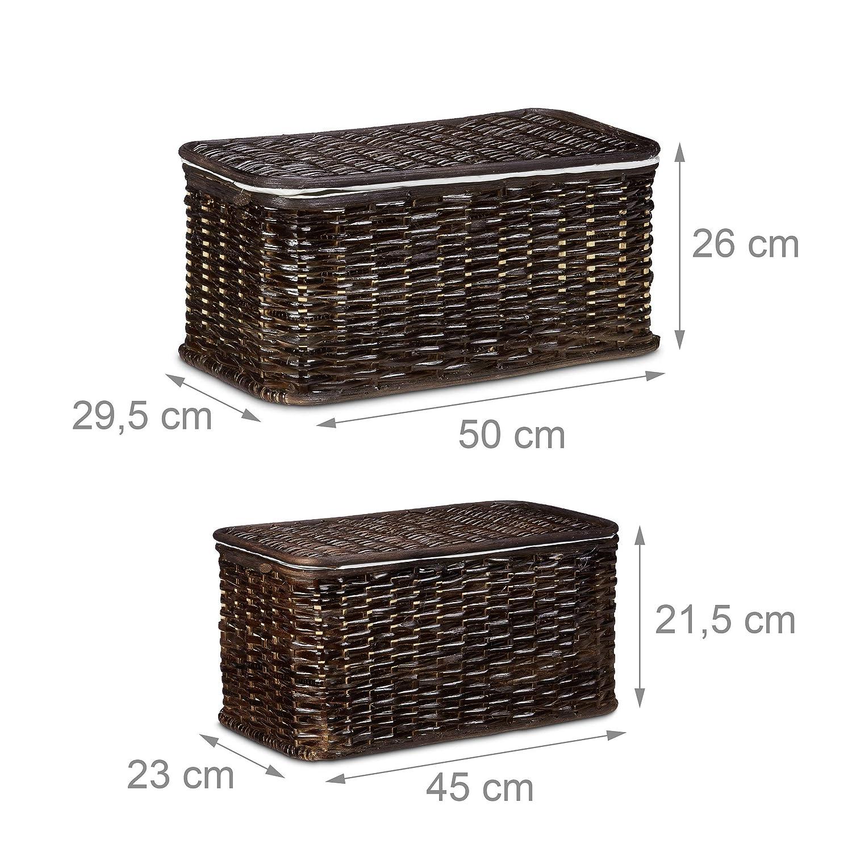 Traspiranti 29,5x50x26 cm Impilabili Relaxdays Set da 2 Cestini Rettangolari Rattan Marrone Chiaro Rivestimento Interno Rimovibile