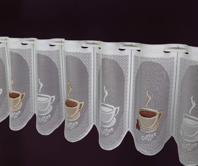 Breite der Gardine durch St/ückzahl in 15 cm Schritten w/ählbar wei/ß-braun Lamellenpanneau Cafemotiv Kaffee Espresso Bistrogardine Kurzstore H/öhe 30 cm Albani Scheibengardine nach Ma/ß Jacquard