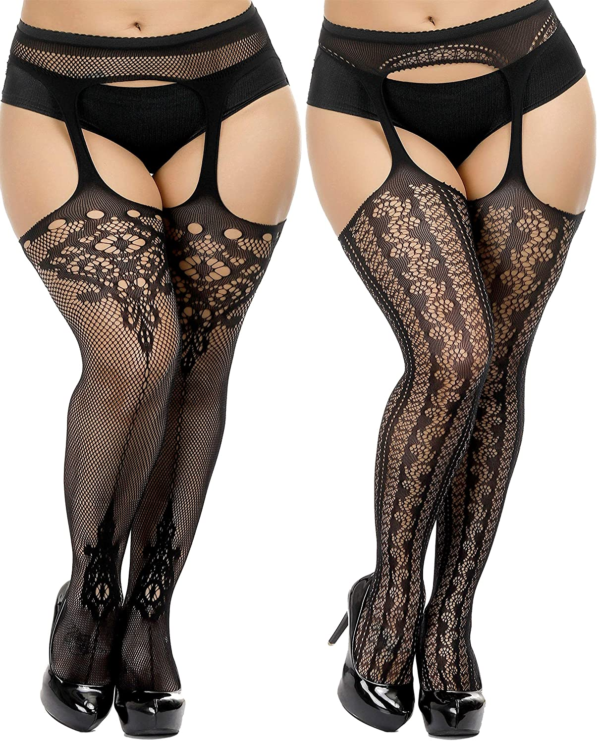 Steampunk Plus Size Clothing & Costumes TGD Womens Fishnet Stockings Plus Size Tights Suspender Pantyhose Thigh High Stockings 2 Pairs  AT vintagedancer.com