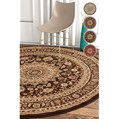 Well Woven Sultan Medallion Brown Oriental 5 Round (5'3  Round) Area Rug Persian Floral Formal Traditional Area Rug Easy Clean Stain Fade Resistant Shed Free Modern Classic Thick Soft Plush Rug