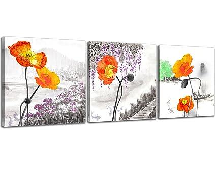 Amazon nan wind small size poppy flowers canvas prints 3 panels nan wind small size poppy flowers canvas prints 3 panels wood framed orange poppy print wall mightylinksfo