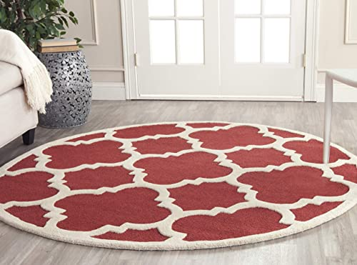 Safavieh Cambridge Collection CAM140L Handcrafted Moroccan Geometric Rust and Ivory Premium Wool Round Area Rug 6' Diameter