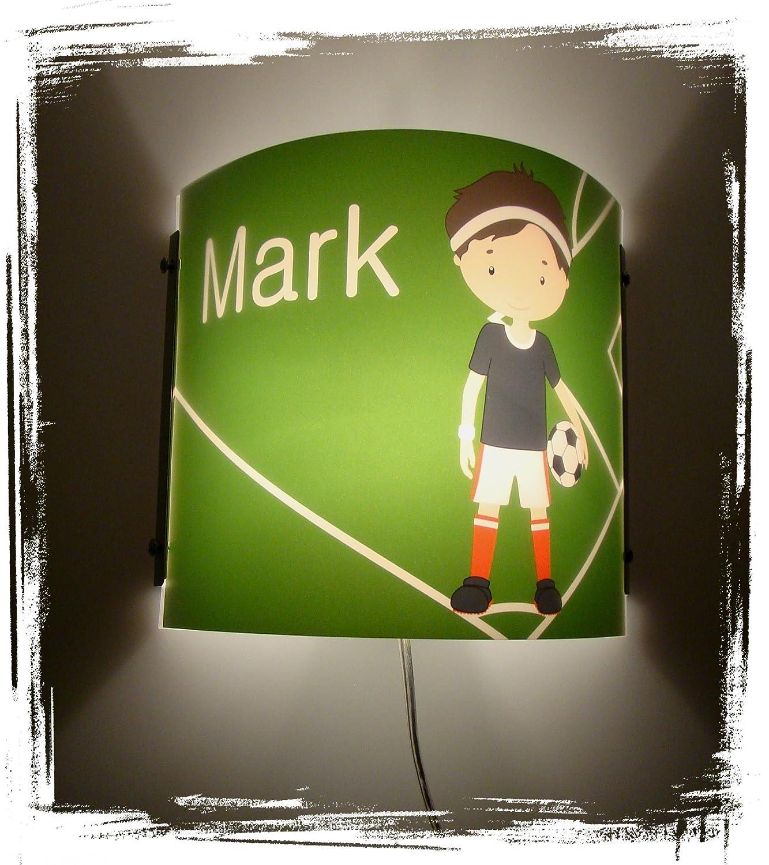 Lampe Kinder Wandlampe Schlummerlampe Nachtlicht mit Schalter personalisiert mit Namen Fußball Fußballspieler CreaDesign WA-1011