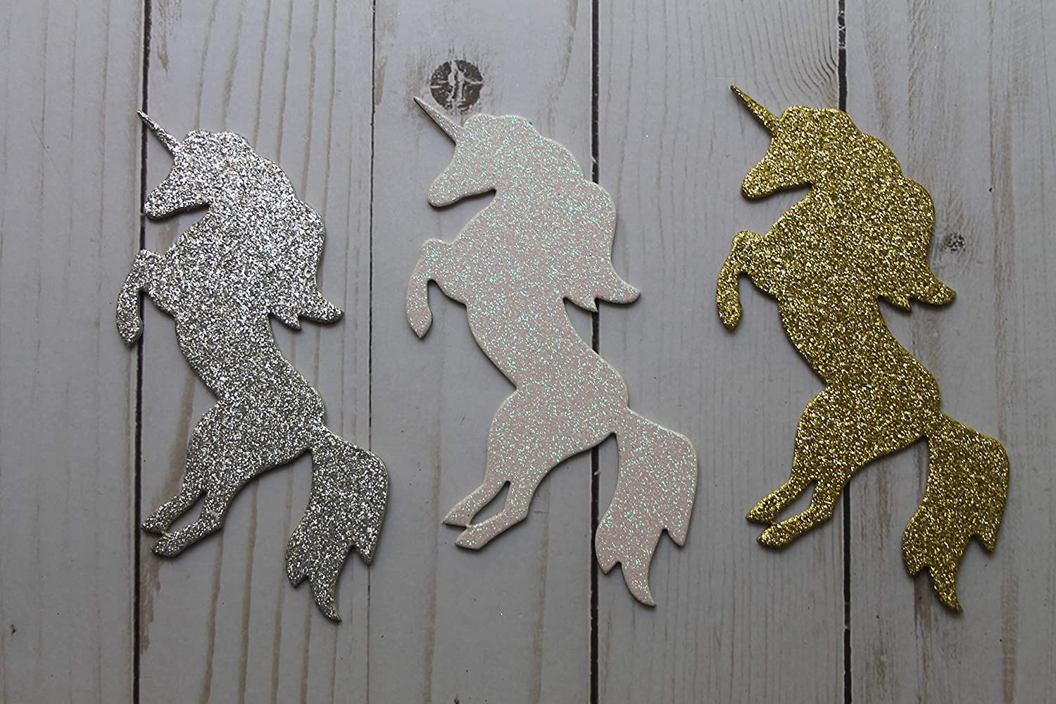 Unicorn Die Cuts Glitter Front /& Back 3 Sizes to Choose