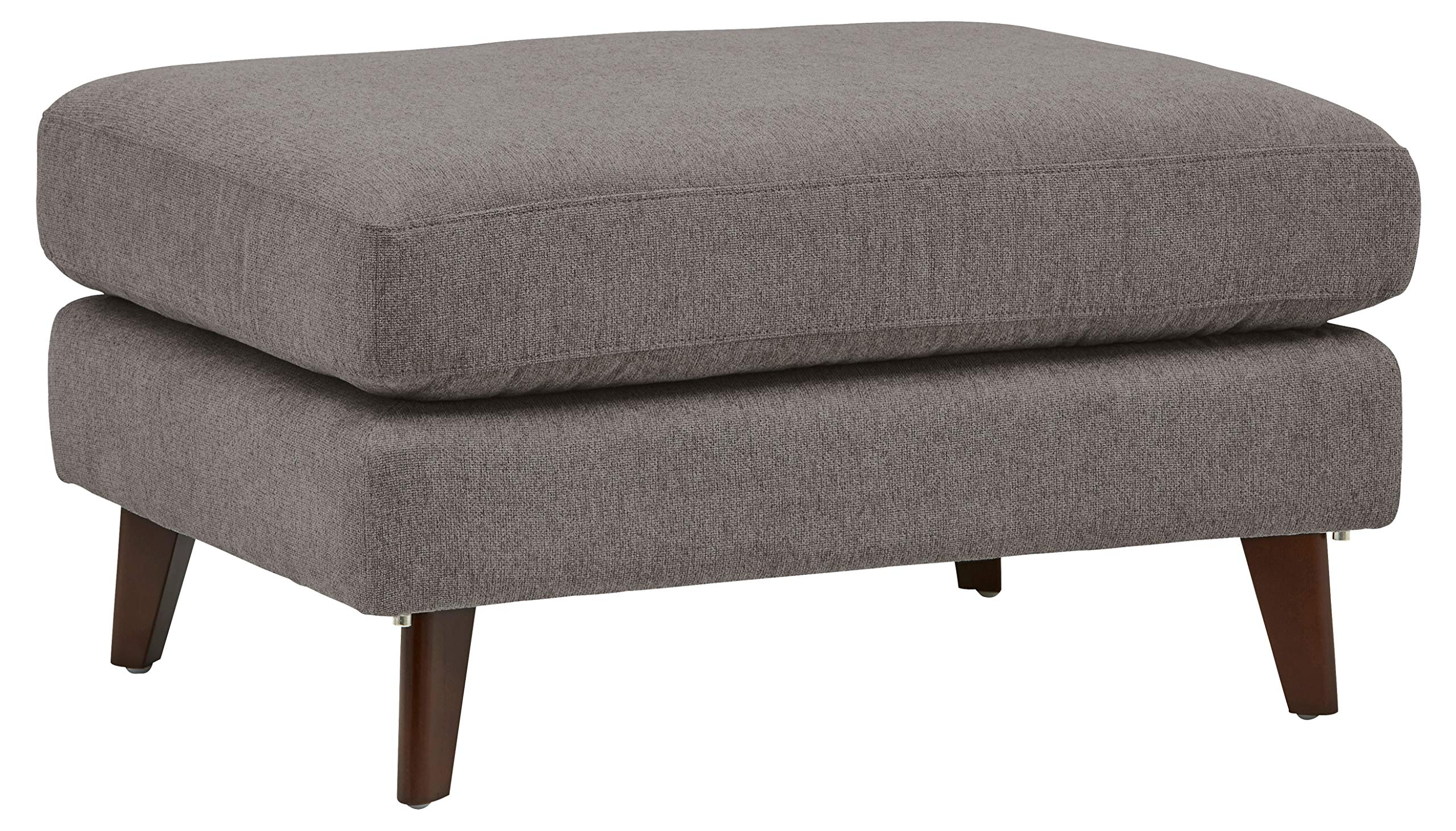 Rivet Sloane Mid-Century Modern Ottoman with Tapered Legs, 31.9''W, Storm Gray by Rivet