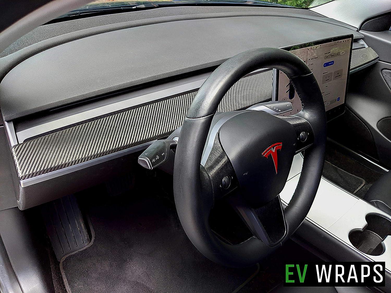 EV Wraps Tesla Model 3 Dash Wrap - Carbon Fiber Black
