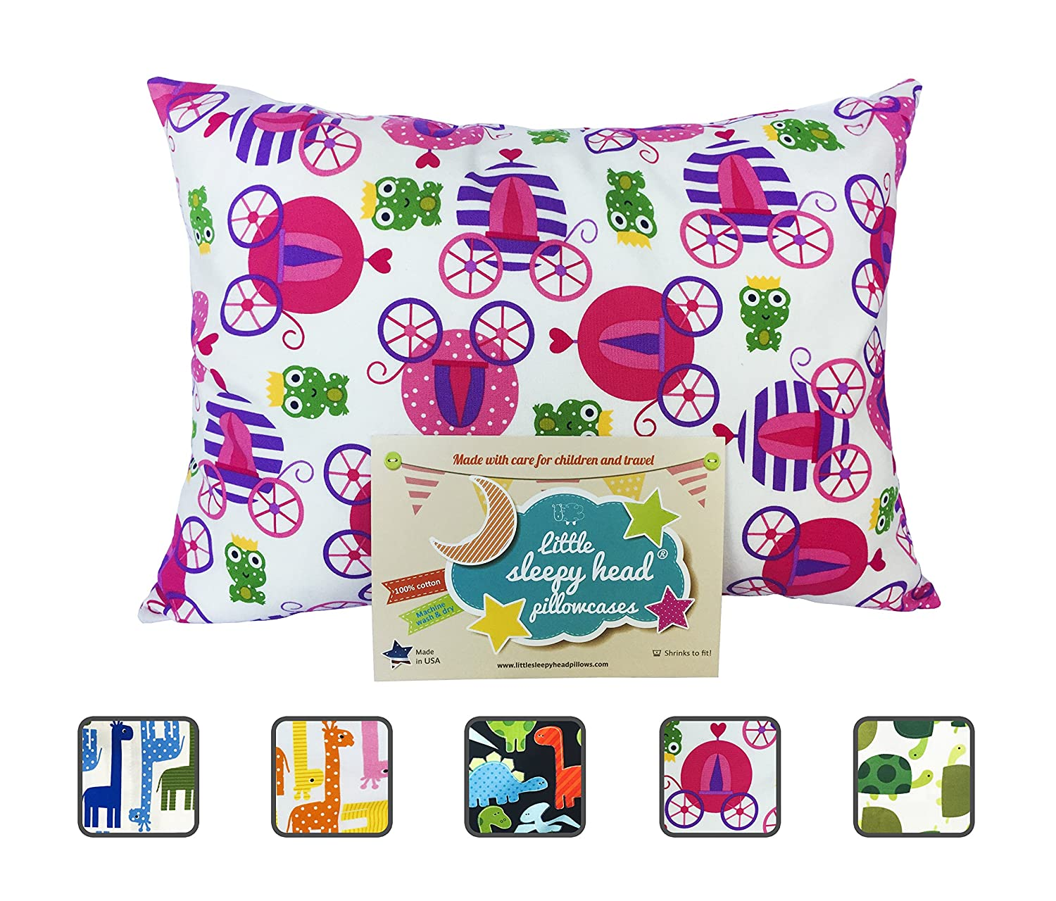 Little Sleepy Head Toddler Pillowcase - Utopia Collection: Pink Giraffes, 13 X 18