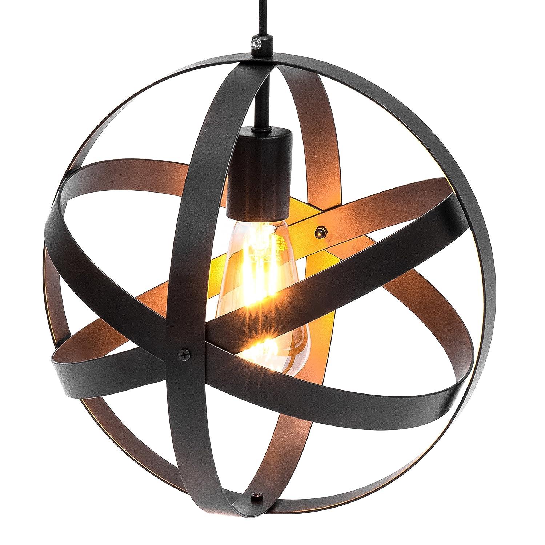 Best choice products hanging metal spherical pendant chandelier lighting fixture bronze amazon com