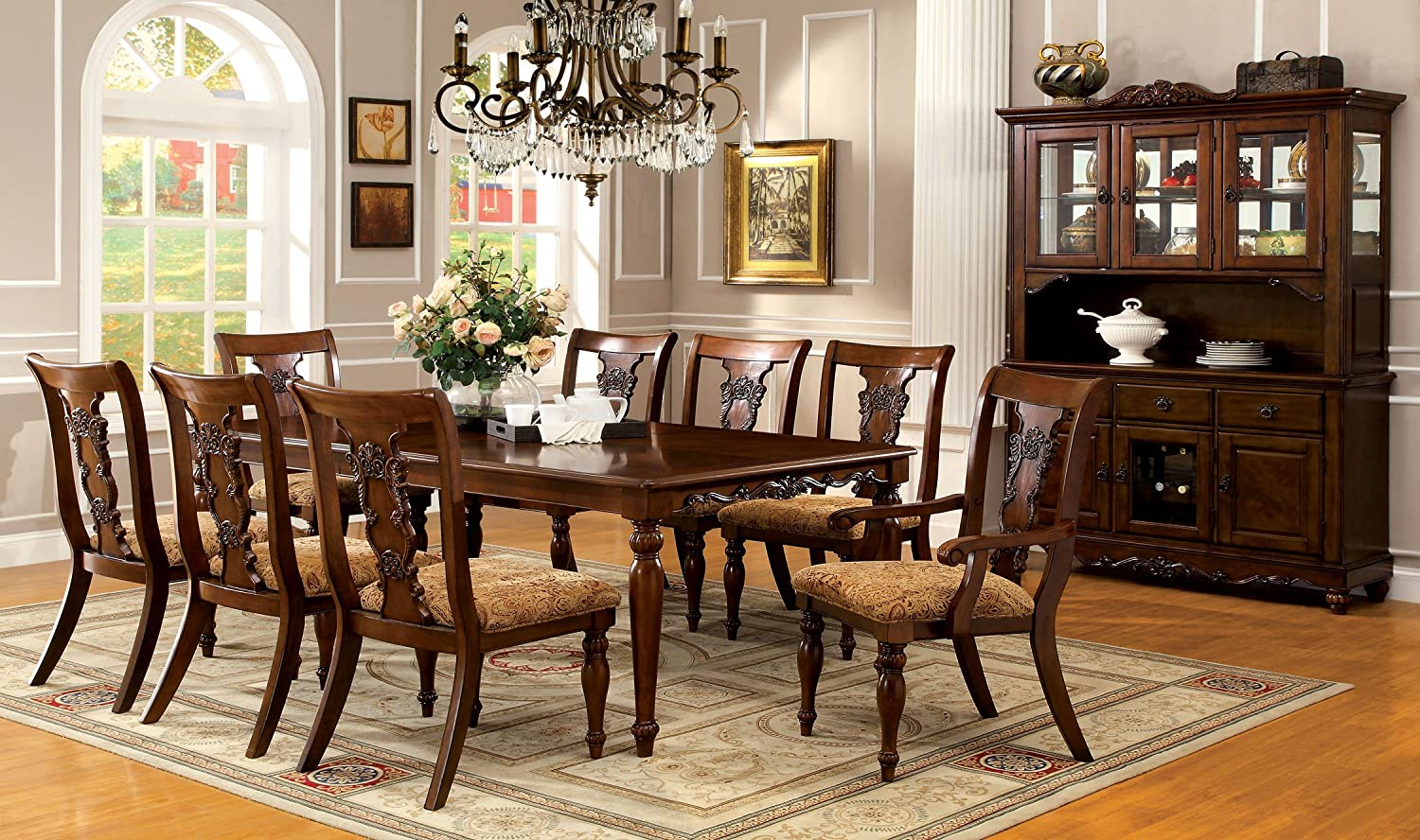 amazoncom furniture of america voltaire 9piece formal dining table set with 18inch expandable leaf dark oak finish table u0026 chair sets