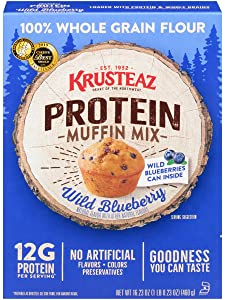 Krusteaz Protein Muffin Mix, Wild Blueberry - 100% Whole Grain Flour - No Artificial Flavors, Colors or Preservatives - 16.23 OZ (Pack of 2)