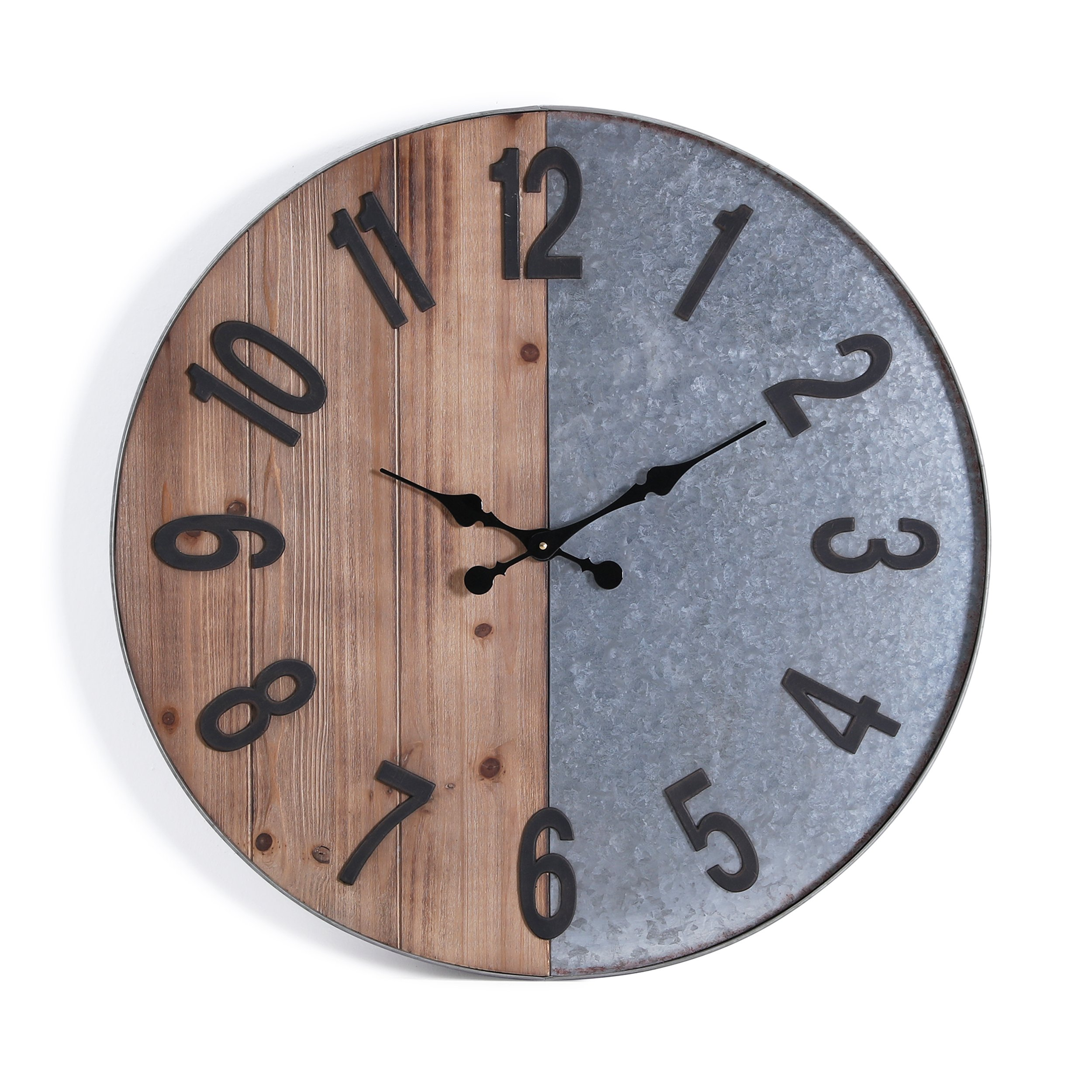 Furniture HotSpot – Industrial Wall Clock – Metal/Wood - 28'' W x 2'' D x 28'' H