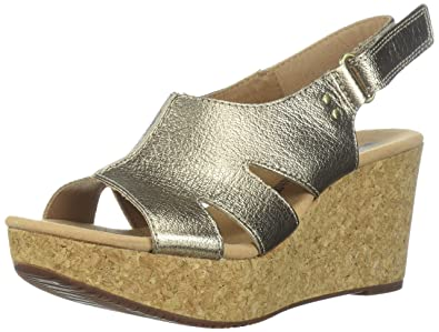 c10f56098159 Clarks Women s Annadel Bari Platform Gold Metallic Leather 2.5 UK