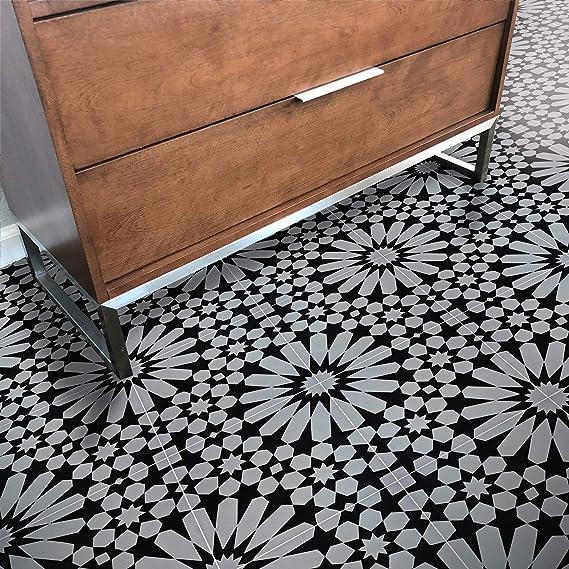 Moroccan Mosaic Tile House Ctp09 09 Agdal 8 X8 Handmade Cement Grey Black Amazon Com