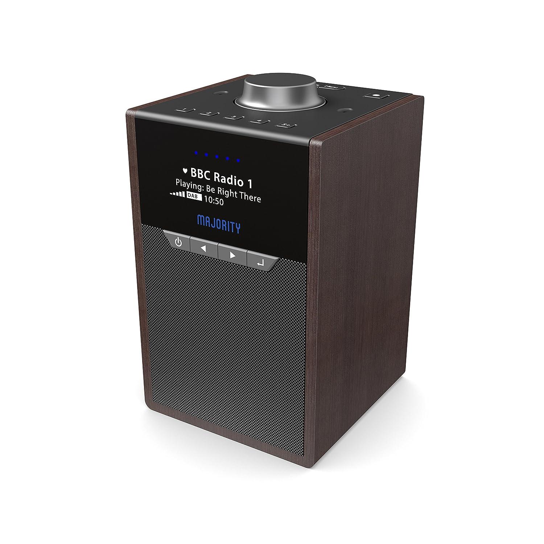 Majority Newton Amazon Alexa Altavoz Inteligente con Control por Voz, Dab/Dab + Radio Digital y FM, Control de aplicación Spotify Connect, Bluetooth, Multihabitación, Despertador Doble (Madera)