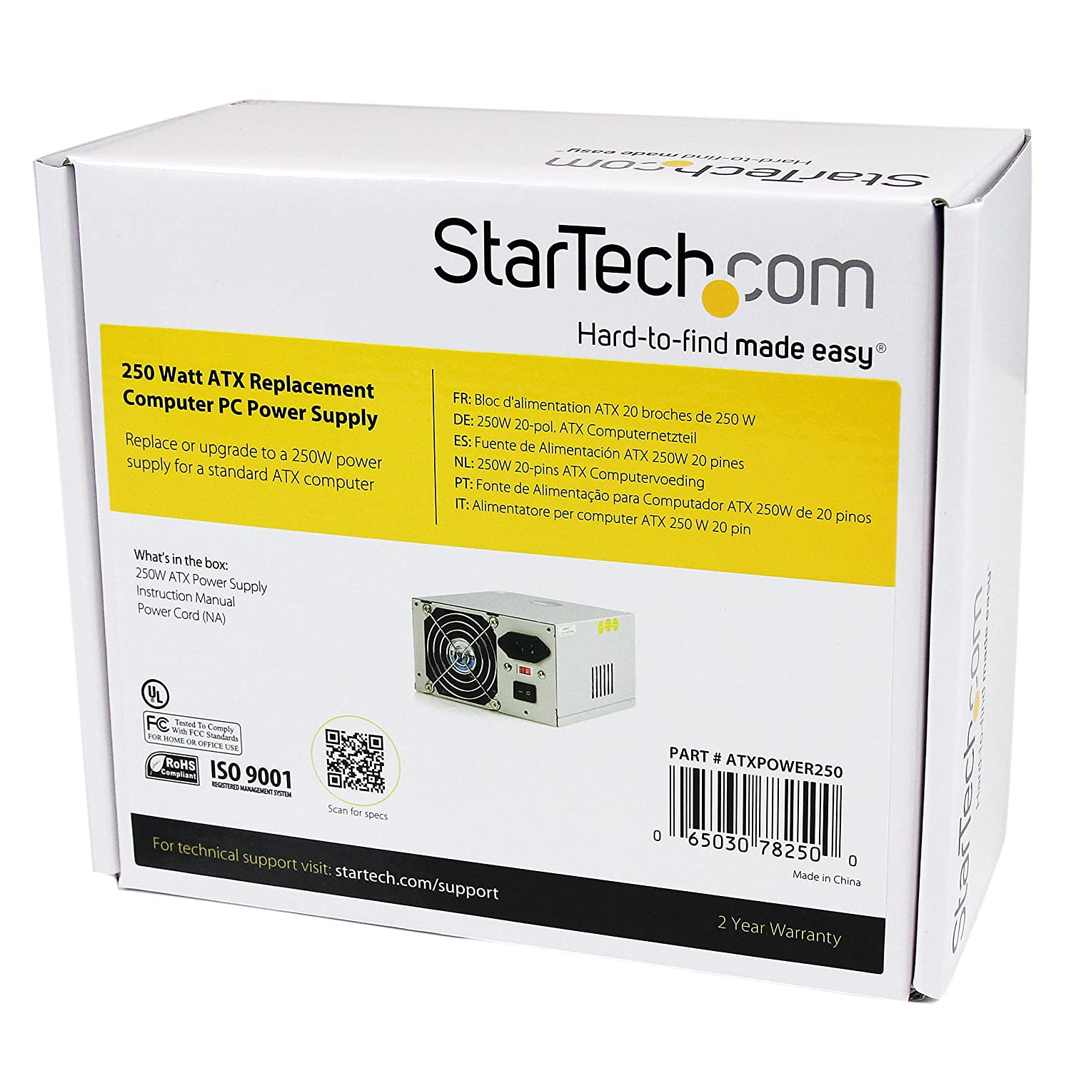 Startechcom 250 Watt Atx Replacement Computer Pc Power Thread Cant Get Old Psu To Fans In Grow Supply Atxpower250 Electronics